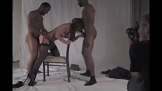 Milf breeding with two massive black cocks filling her holes up thick and deep