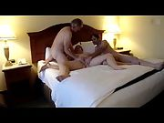 Fucking her shaved pussy with a friend