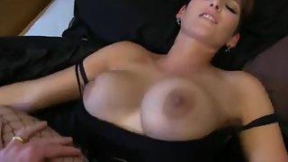 Sexy big tit redhead gets a wonderful creampie fuck