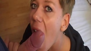 Short haired milf tasting cum after sucking dick