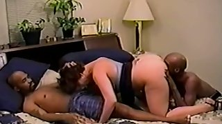 Interracial threesome cuckold wife shared with two black studs