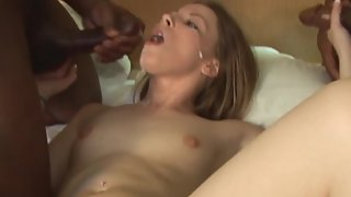 Couple of bulls banging a slut wife giving her what she craves
