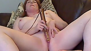 Chubby redheaded mature and her vibrator part two