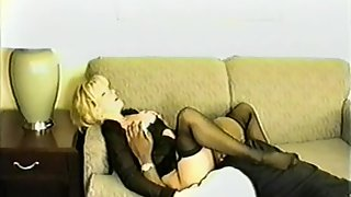 Married blonde white wife wearing special lingerie for blacking