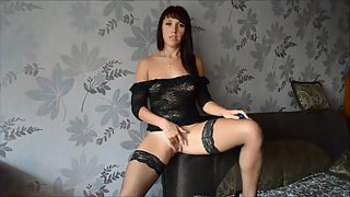 Gorgeous brunette plays with her pussy part I