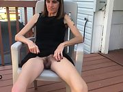 Skinny wife with hairy pussy flashing
