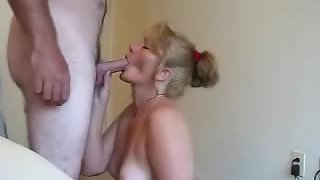 Standing up for blowjob from the wife