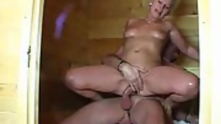 German wife gets screwed by her spouse in sauna