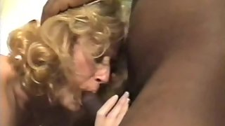 Mature blonde cuckold wife taking on 3 BBC's and husband