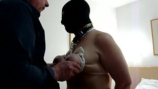 Breast bondage in a hotel room with total stranger