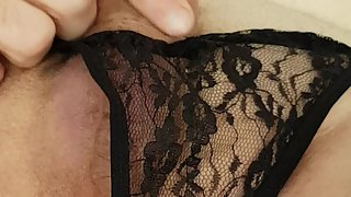 German Crossdresser in black String masturbation