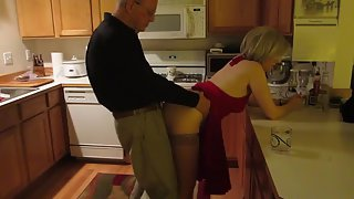 A night out 2 seniors come home very horny